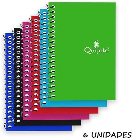 Quijote Paper World Pack 6 Cuadernos Espirales Horizontal, Interior Cuadros 4x4mm, Tapa Cartón, 80 Hojas, 60G, 8.5x12.5cm para Uso Escolar, Oficina, Trabajo, etc.: Amazon.es: Oficina y papelería