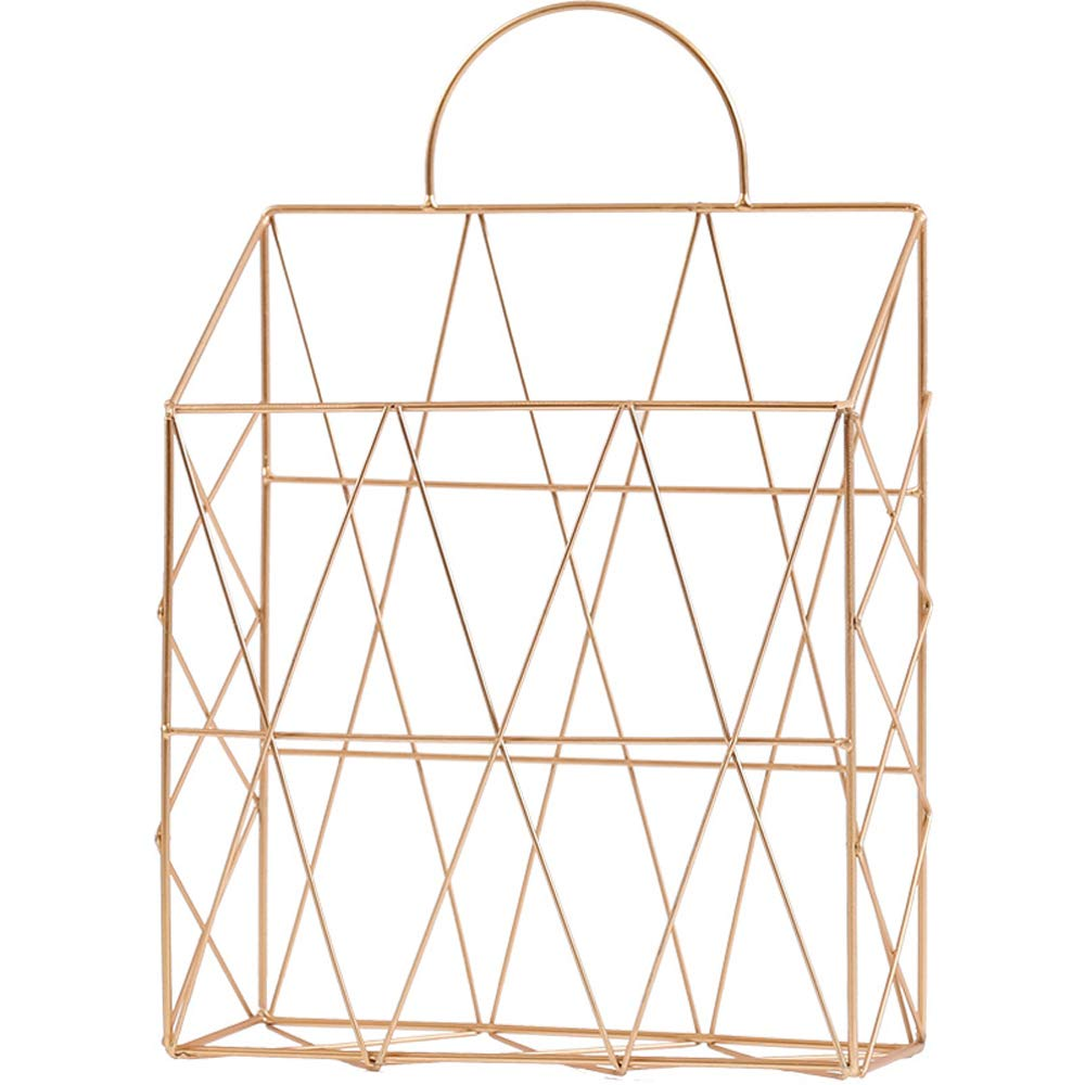 AIYoo File Holder Metal Organizer,Gold Wire Wall Bin Magazine Rack Holder,Storage Basket for Magazine,Books, Newspapers - Modern Office Home Supplies and Decorations.