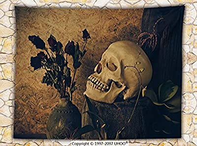 Gothic Decor Fleece Throw Blanket Human Skull with Dead Dried Roses in the Vase Grunge Style Bourgeois Life Culture Photo Throw Beige Black
