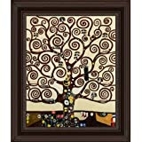 overstockArt Klimt Tree of Life with Chesterfield Deep Black Finish with Oxblood Accent