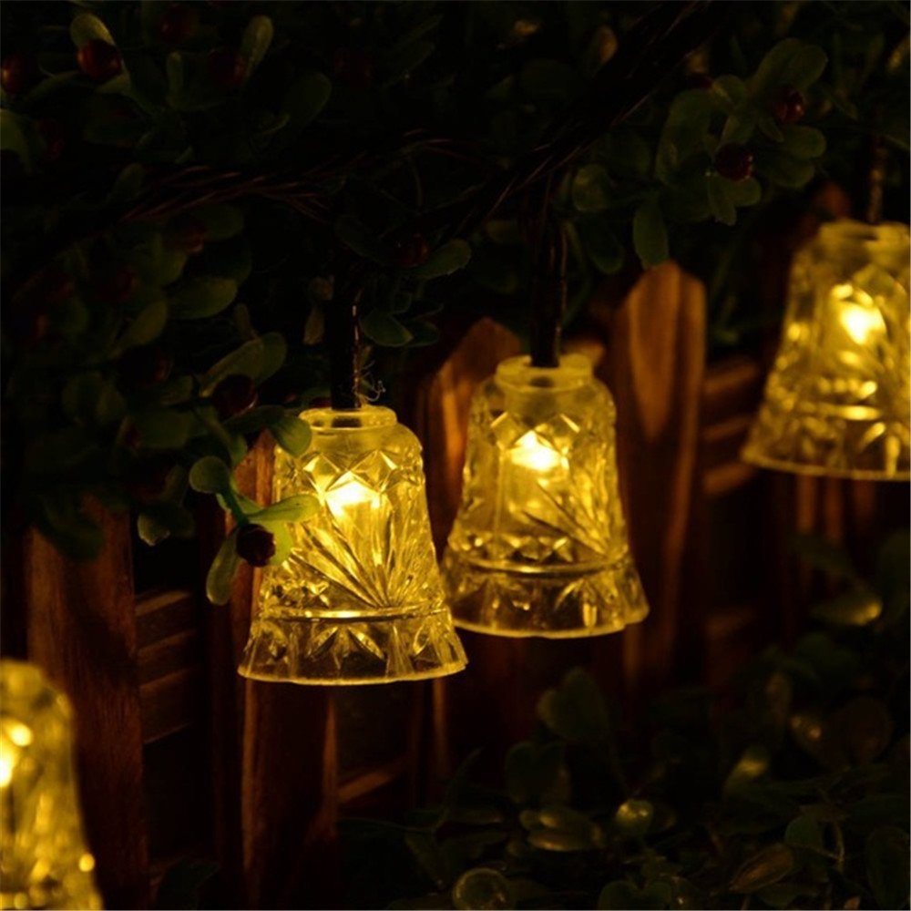 KingTo Garden Decoration Solar String Lights,20 LED Waterproof Bells Shaped Fairy String Light for Outside Garden Camping Patio Party Holiday Wedding(Bell,Warm White)