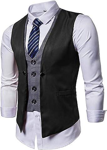 HSLS Mens Suit Vest V Neck 5 Button Slim Formal Business Casual Waistcoat