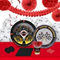 Racecar Racing Party Supplies - Tableware and Decoration Party Pack for 16 Guests