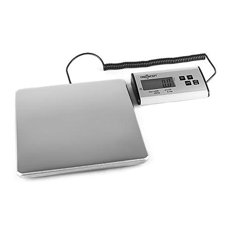 oneConcept Marketee balanza digital para paquetes hasta 200kg 27x27 cm (Báscula digital de precisión,
