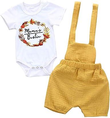 Bebe Ropa Niño Verano Floral Mameluco + Pantalones con Peto ...