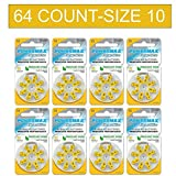 Powermax Size 10 Hearing Aid Batteries, Yellow Tab, Zinc Air Mercury-Free, HearRite, 64 Count