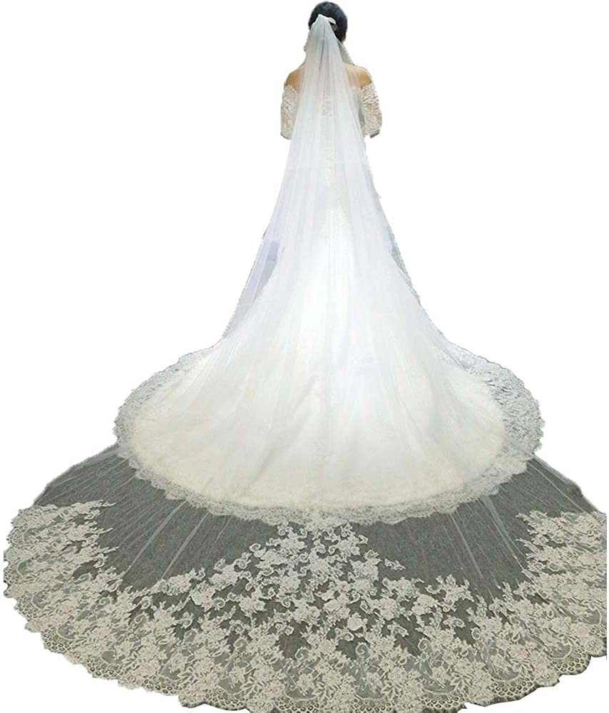 SHANGSHAGNXI Cathedral Wedding Veil Lace Long 3 Meters White/Ivory Bridal Accessories
