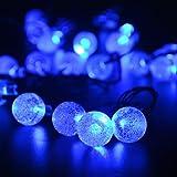 lederTEK alimentata solare impermeabile luci leggiadramente della stringa 6M 30 LED 2 Modalità Crystal Globe Natale lampada decorativa per scoperta, giardino, casa, Matrimonio, Natale Anno nuovo partito (30 LED Blu)