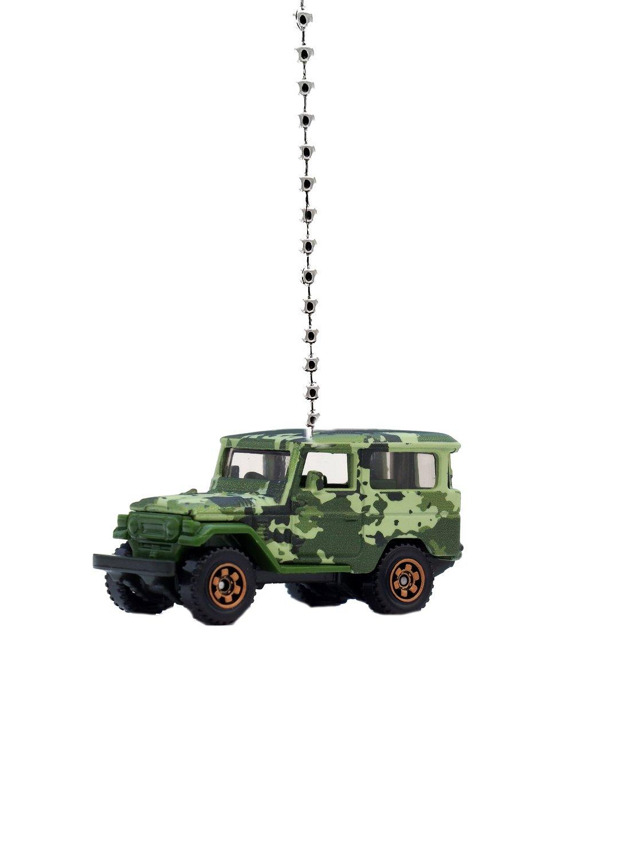 TOYOTA Truck Diecast Ceiling Fan Light Pull Ornaments 1:64 (Toyota Land Crusier FJ40 Camo Green)