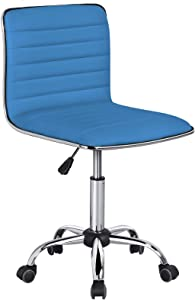 Yaheetech PU Leather Office Chairs, Ribbed Armless Swivel Chairs, Ergonomic Low Back Task Chairs with Wheels Blue