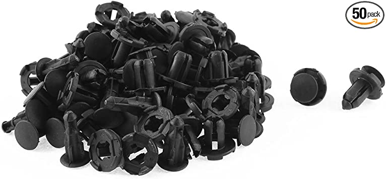 uxcell 50 Pcs Black Plastic Body Mat Rivet for 8mm Hole