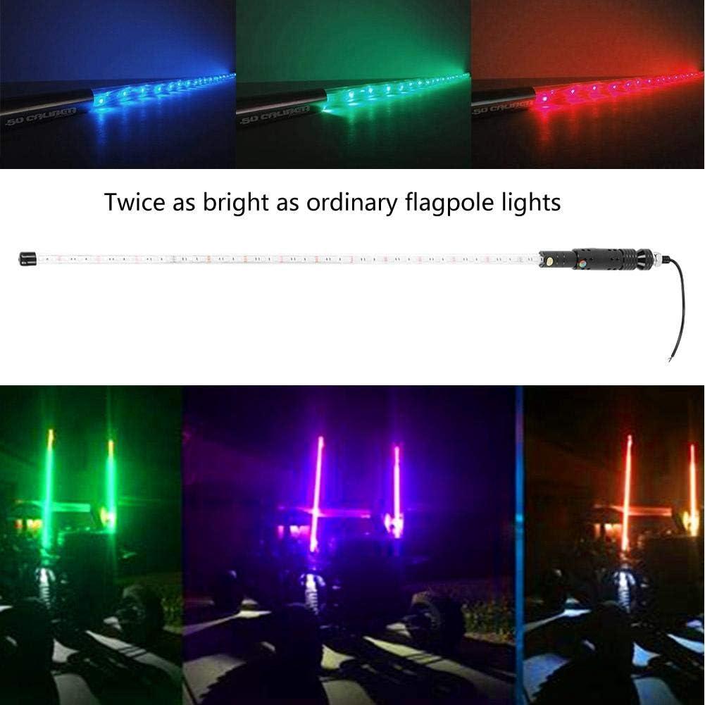 3FT Whips Light 3FT RGB Waterproof Bendable Wireless Remote Control Super Bright LED Flagpole Lamp Light for ATV,UTV,RZR,SXS