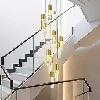Araña de luces 30x123cm nórdica de la lámpara LED de larga trigo Escaleras Araña ático en la planta de Villa escalera de caracol de la lámpara Colgante de luz: Amazon.es: Iluminación