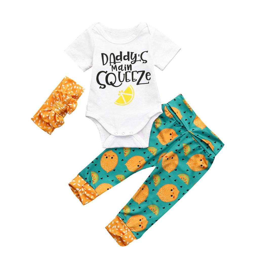 Webla Infant Baby Boys Girls Letter Daddys Main Squeeze Print Romper Jumpsuit+Pants+Headbands 3Pcs Lemon Print Outfits Set for 0-18 Months