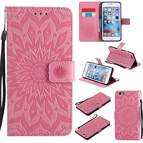 Price comparison product image iPhone 6S Plus Wallet Case, A-slim(TM) Sun Pattern Embossed PU Leather Magnetic Flip Cover Card Holders & Hand Strap Wallet Purse Case for iPhone 6 Plus / 6S Plus [5.5 Inch] - Pink