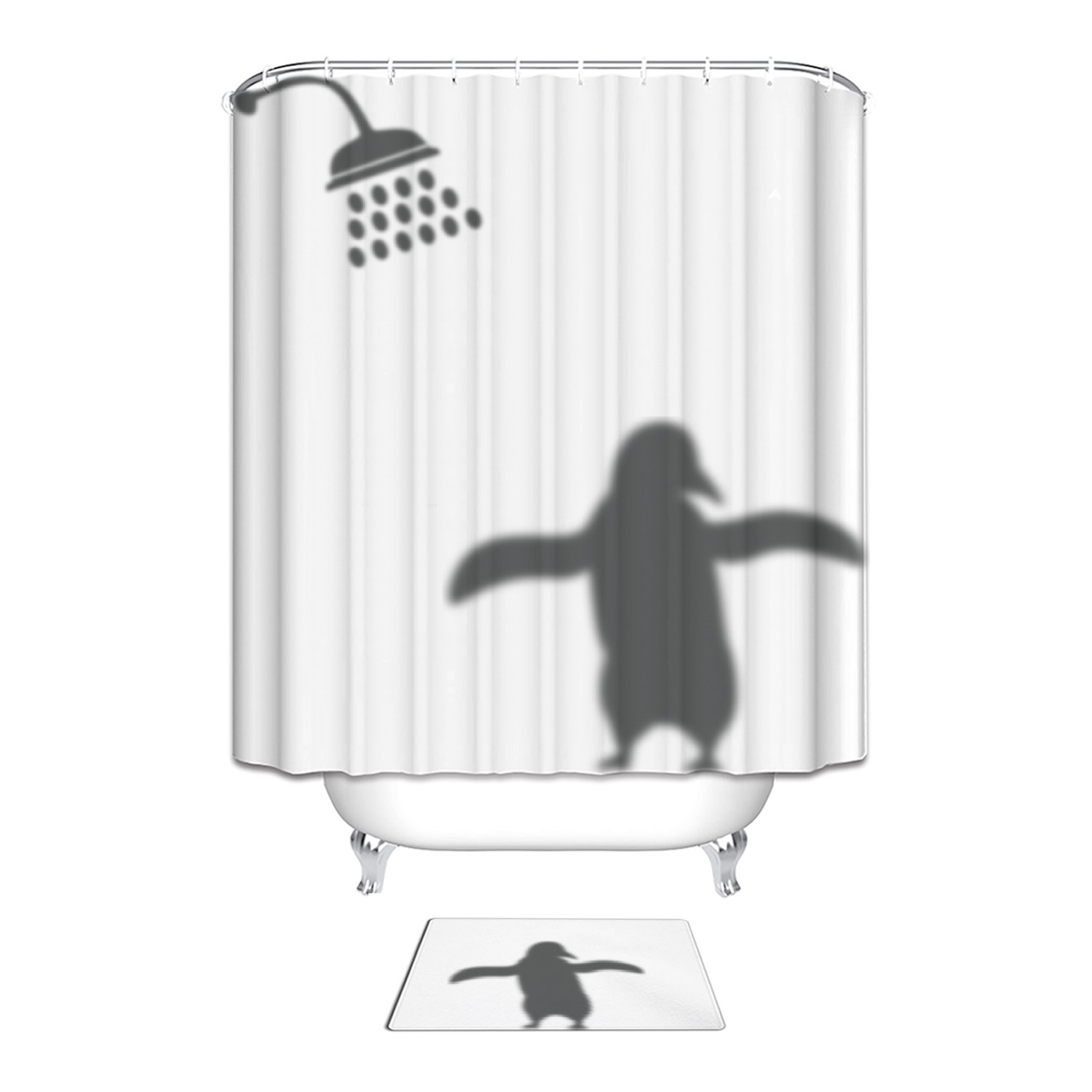 Animals Penguin Shadow Funny Waterproof Polyester Fabric Bathroom Shower Curtain with Floor Mats Rugs Bath Decorations Sets 48 x 72