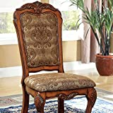 Medieve English Style Antique Oak Finish Formal Dining Chair (Set of 2)