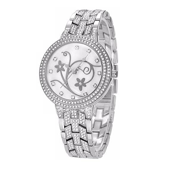 Moda Lujo Diamante de Imitación Correa de Aleación Cuarzo Relojes Mujer, Plateado: Amazon.es: Relojes