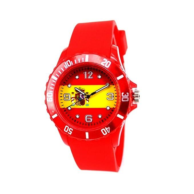 Reloj con la bandera de España con pulsera de Silicona