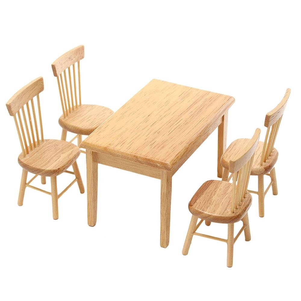 1 Set Miniature Dining Table Chair Wooden Furniture Set for 1:12 Dollhouse by TOYZHIJIA The glass Heart