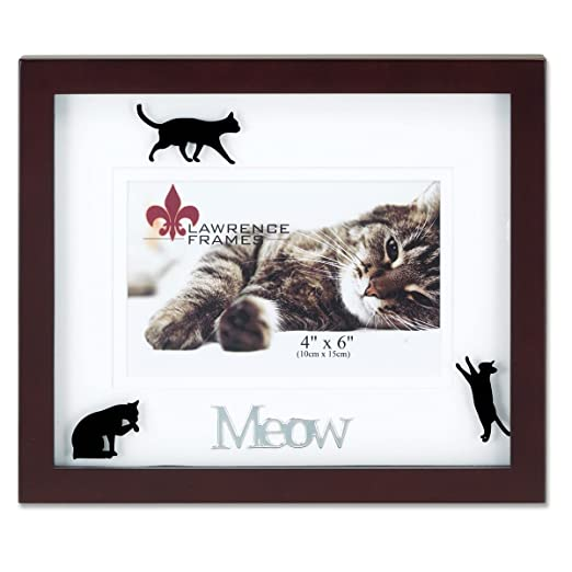 amazoncom lawrence frames walnut wood 4 by 6 meow picture frame matted shadow bo by cat frame single frames