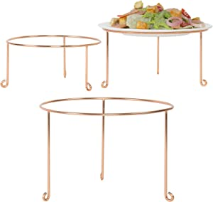 MyGift Modern Copper Metal Wire Round Pizza Pan Riser Holder and Cake Plate Display Rack Stands, Set of 3