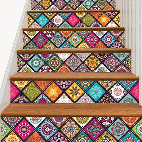 YJYDADA Wall Stickers,6Pcs Staircase Stair Riser Floor Sticker DIY Wall Decal Fashion Stairs Decal,18CMX100CM (A)