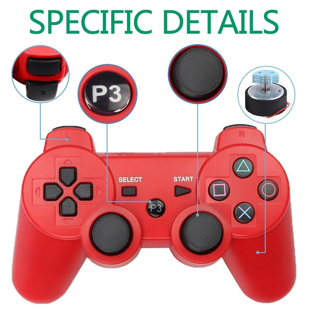 PS3 Controller Wireless Bluetooth Six Axis Dualshock Game Controller for  Sony PlayStation 3 PS3 (Red)