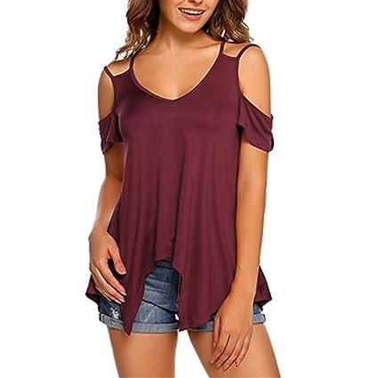 Camisetas de mujer tallas grandes de verano (S ~ 5XL), LILICAT® 2018 Moda Sexy fuera del hombro sin tirantes de manga corta con color puro V-Neck Braces ...