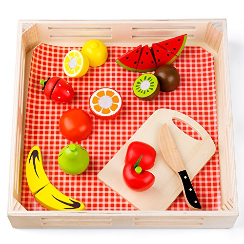 Wooden Cutting Board Toys, Velcro Fruit Toy Kitchen Set with