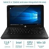 YUNTAB Tablette tactile 11.6 Pouces Windows 10 Tablette 2 En 1 Quad-Core Intel Z8300 1.84 ghz Tablette 2go Ram Disque Dur 32 Go 1366*768 pxs Bluetooth 4.0 HDMI Avec Clavier Noir