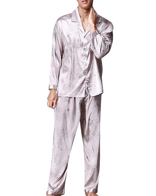 Hombre V-Cuello Manga Larga Ocio Pijama Satén Pantalones Pijamas Set Gris L