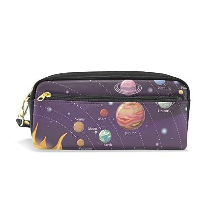 Ahomy Estuche Estuche Planetas Moon Estrellas Sol Gran Capacidad Estudiante Bolígrafo Cartera Cosmético Maquillaje Bolsa para