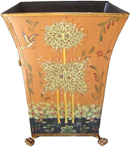 """7/"""" Hand Painted Wastebasket Bin Container//Orchid Planter"""