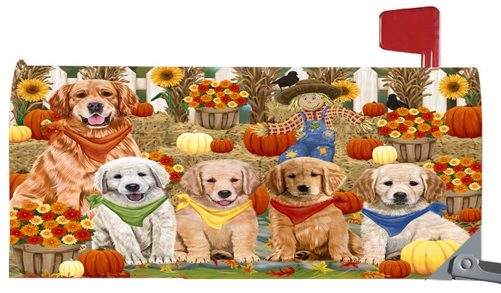 Magnetic Mailbox Cover Harvest Time Festival Day Golden Retrievers Dog MBC48043