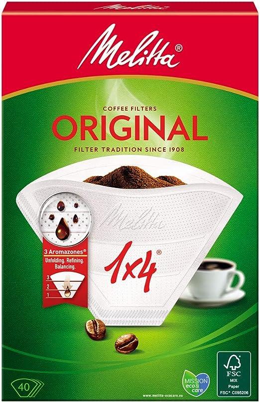Melitta, 40 Filtros de café, Tamaño 1x4, Para cafeteras de filtro ...