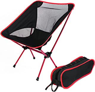 Portable Ultralight Camping Chair, Ultralight Duty Folding Chair for Outdoor Activities/Camping, Durable 600D Thicken Oxford Cloth,Sturdy Aluminum Alloy Frame,with Carry Bag, Weight Capacity: 330lb/150kg (Red)