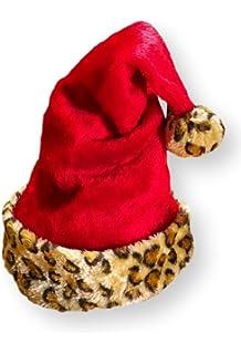 262d395db6ec9 Christmas House Red Plush Santa Hat With Faux Fur Leopard Cuff