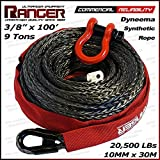 """Ranger 3/8"""" x 100' Durable Dyneema Synthetic Winch Rope Cable 20,500LBs with Protective Sleeve by Ultranger"""