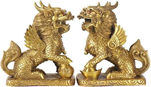 Chinese Pure Copper Brass Bronze Pastoral Crafts Zodiac Horse Statue A Pair