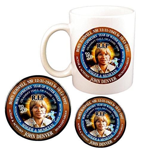 (John Denver RIP Singer Cup + Magnet + Pin, Astrology Capricorn Zodiac Water Sheep)