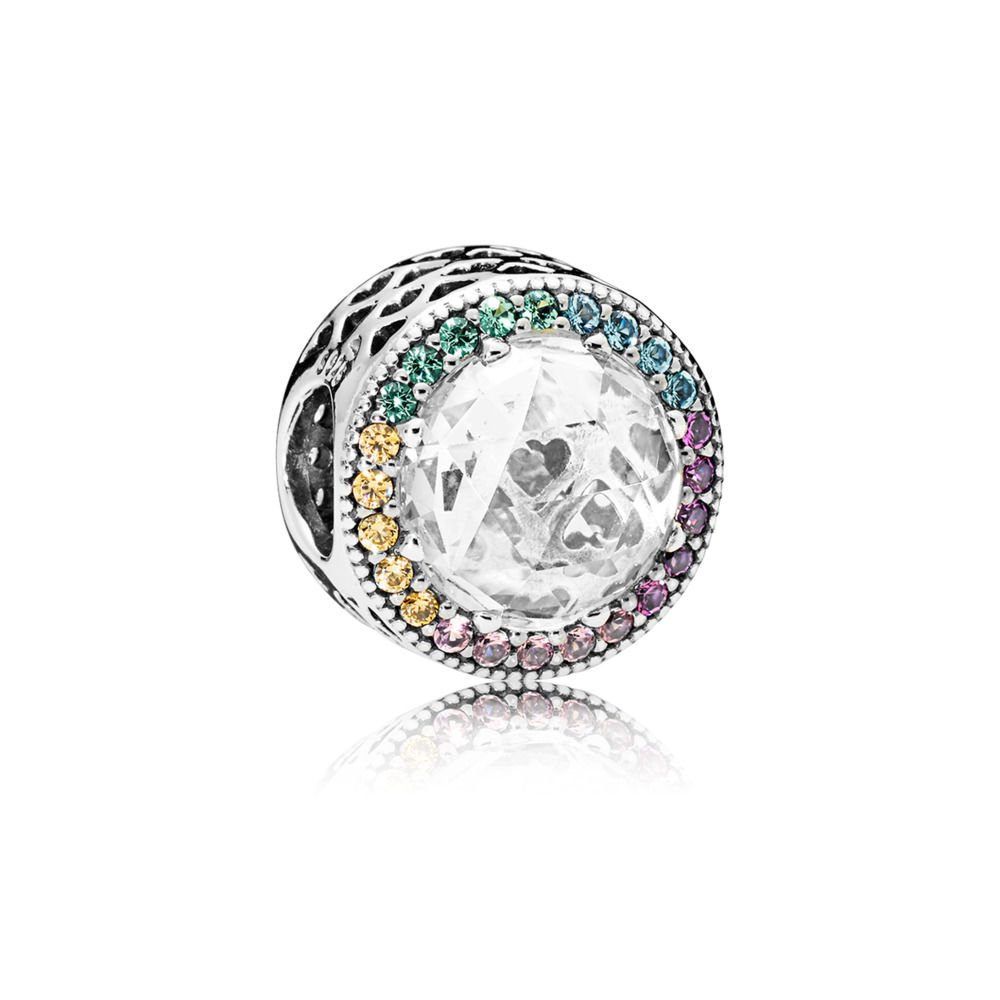 PANDORA Multi-Color Radiant Hearts Charm, Multi-Colored CZ, 791725CZMX