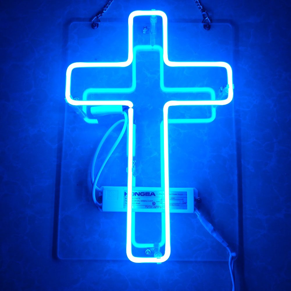 Mugua ''New Cross'' Beer Neon Sign Lamp Light 12'' x 10'' for Home Bedroom Pub Hotel Beach Recreational Game Room Decor Garage Wall Sign