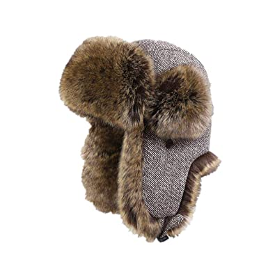 Men Trapper Hats Faux Fox Fur Bomber Hat Winter Warm Snow Caps Wool Knitted  Cap at Amazon Men s Clothing store  6121bab70e5