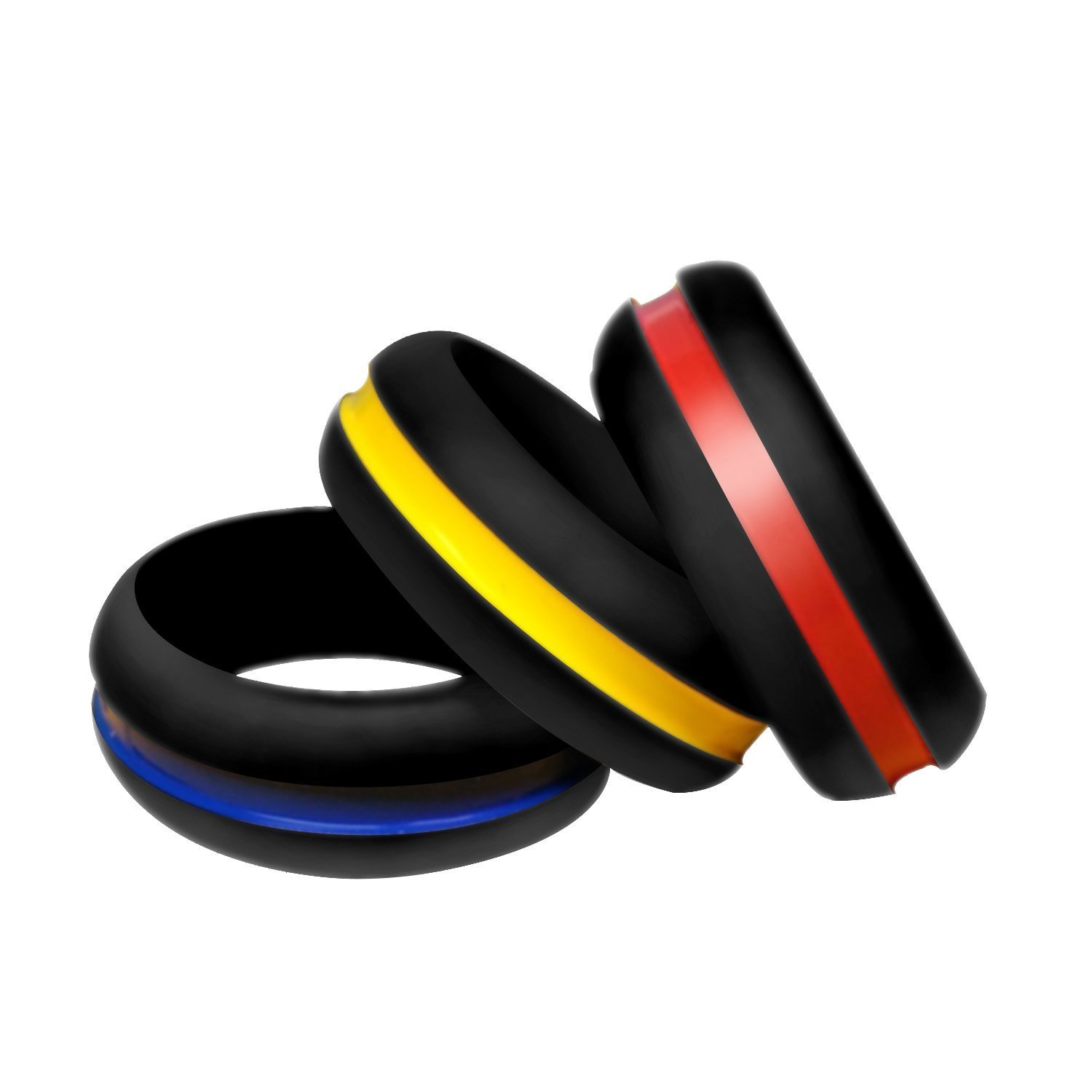 Rinspyre 3 Pack Silicone Wedding Rings Wedding Bands for Active Men and Women, Fitness, Engineers, Sports, Weightlifting Comfortable Fit, Skin Safe, Non-Toxic Soft Rubber Band RSP-0302