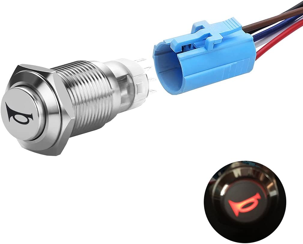 RED DOT LED STAINLESS STEEL PUSH BUTTON MOMENTARY START SWITCH Boat//Car//Horn