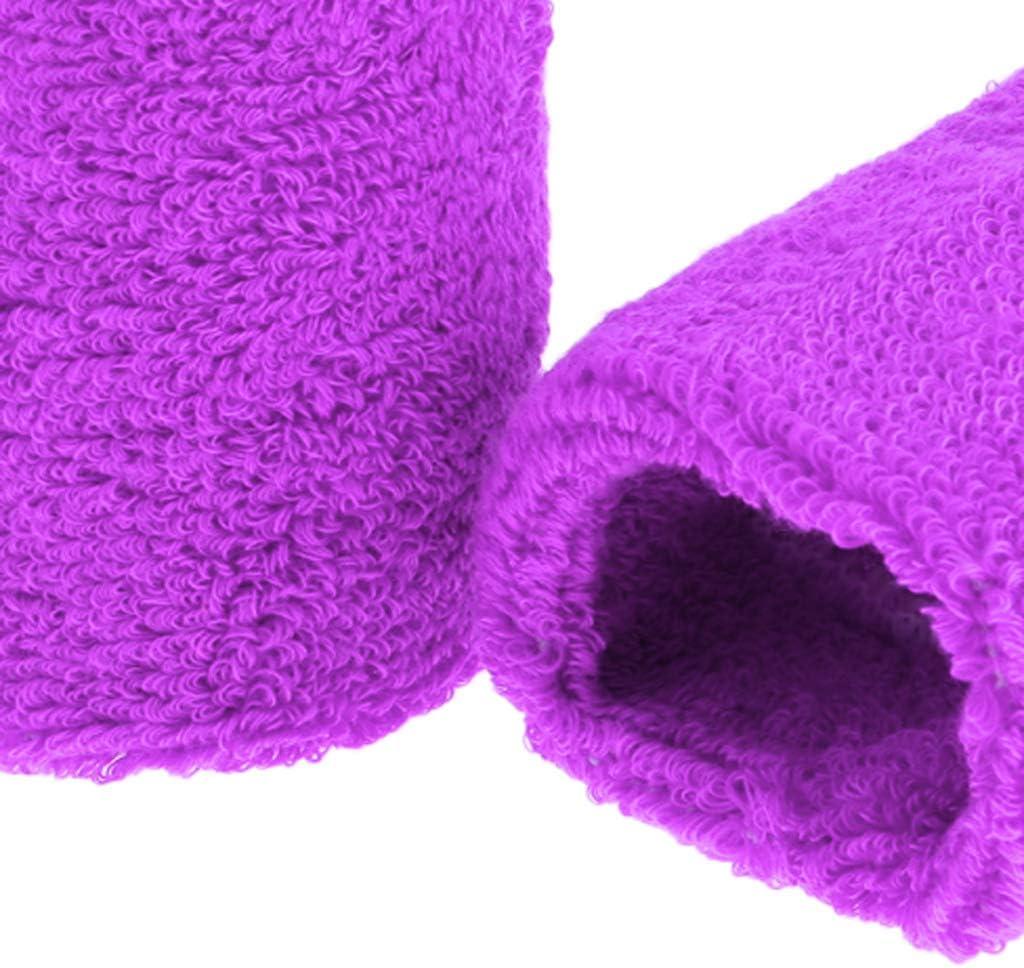 Toygogo 1 Paio Braccialetto Protettivo di Cotone Bande di Sudore Braccialetto Pallacanestro Sportivo Gimnacio viola chiaro