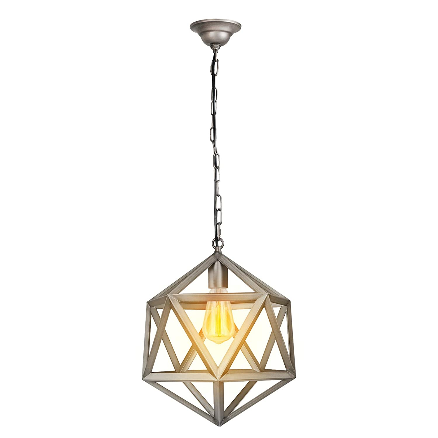 Paragon home geometric pendant light fixture for kitchen and dining room polygon industrial lighting fixture foyer chandelier e26 base antique nickel