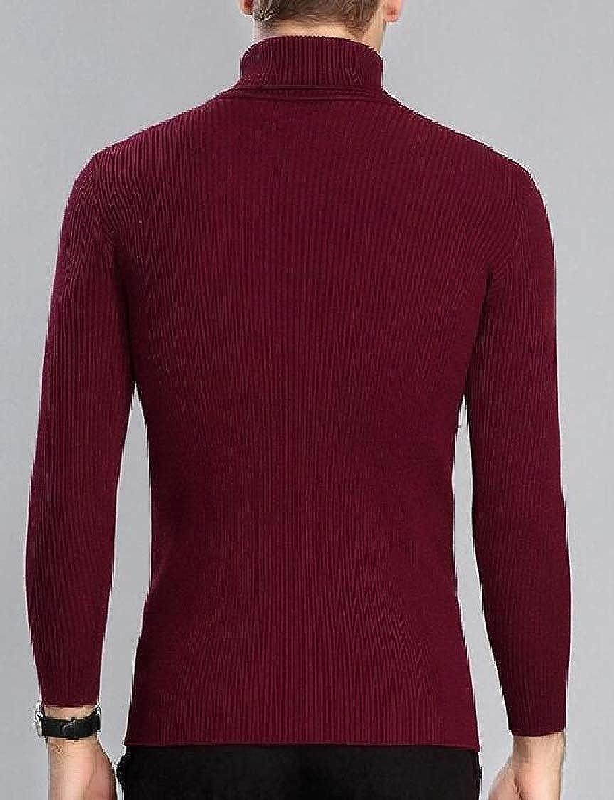 SELX Men Slim Turtleneck Knitted Stretchy Solid Color Pullover Jumper Sweater