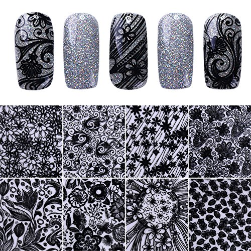 Ghosts & Spiders Swirl Decorations (NICOLE DIARY 8 Sheets 3D Nail Sticker Elegant Lace Flowers Leaves Decals Nail Art Adhesive Transfer Sticker DIY Manicure Decoration (Silver))